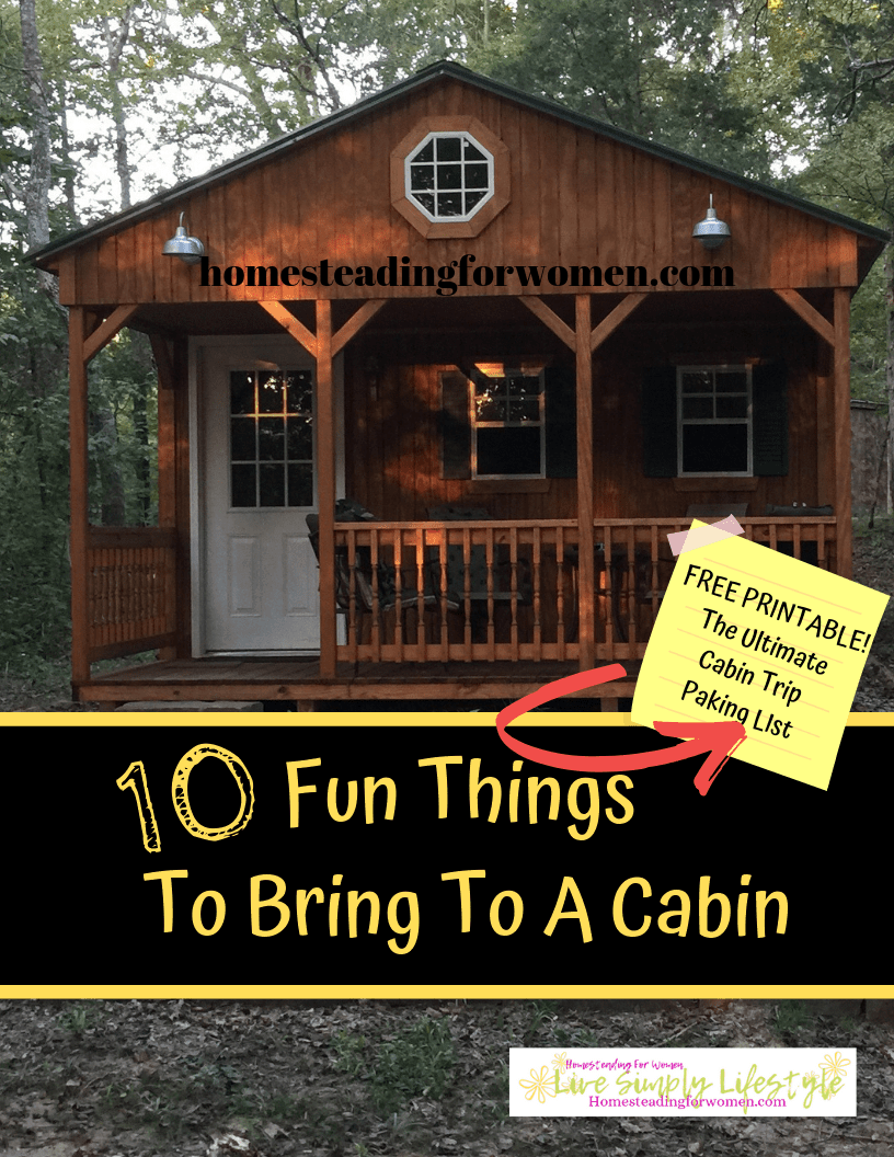 10 Fun Things To Bring To A Cabin -Free Printable Cabin Packing List