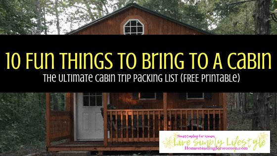 10 Fun Things To Bring To A Cabin Free Printable Cabin Packing List