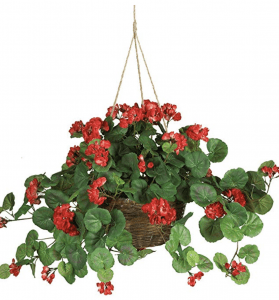 Artificial Geranium hanging Basket