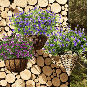 Outdoor Artificial Flowers in Hanging Baskets
